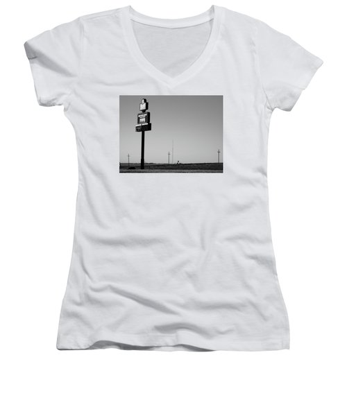 Women's V-Neck T-Shirt (Junior Cut) featuring the photograph American Interstate - Kansas I-70 Bw 4 by Frank Romeo