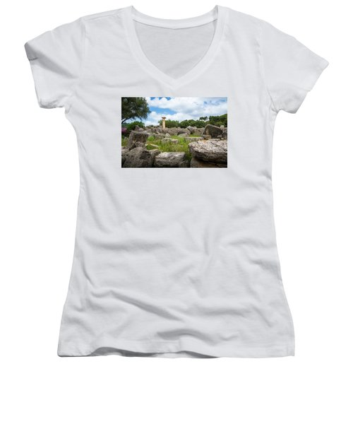 Ancient Olympia / Greece Women's V-Neck T-Shirt (Junior Cut) by Stavros Argyropoulos