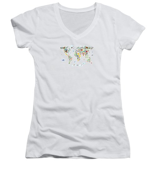 Animal Map Of The World For Children And Kids Women's V-Neck