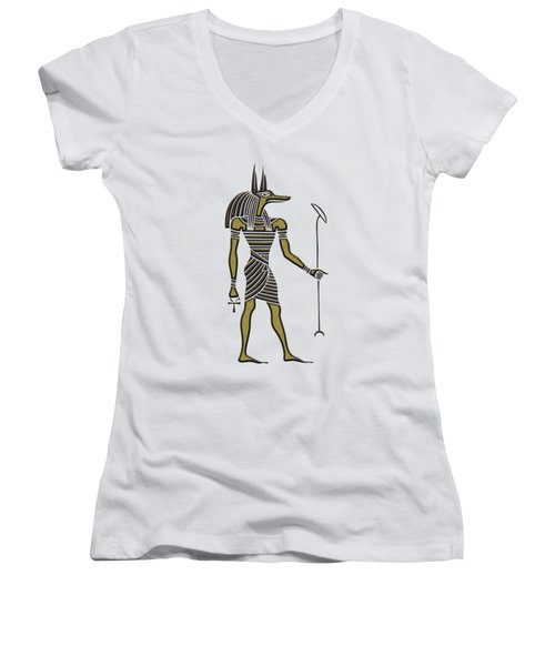 Women's V-Neck T-Shirt (Junior Cut) featuring the mixed media Anubis - God Of Ancient Egypt by Michal Boubin