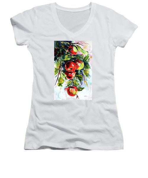Apples Women's V-Neck T-Shirt (Junior Cut)