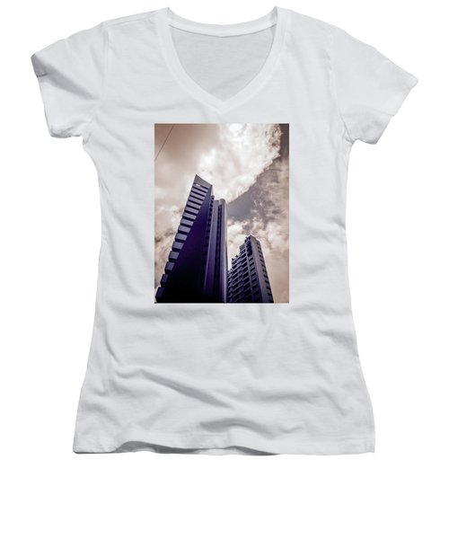 Architecture And Building Women's V-Neck T-Shirt (Junior Cut) by Cesar Vieira