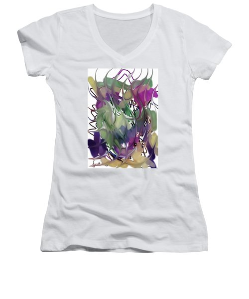 Art Abstract Women's V-Neck T-Shirt (Junior Cut) by Sheila Mcdonald