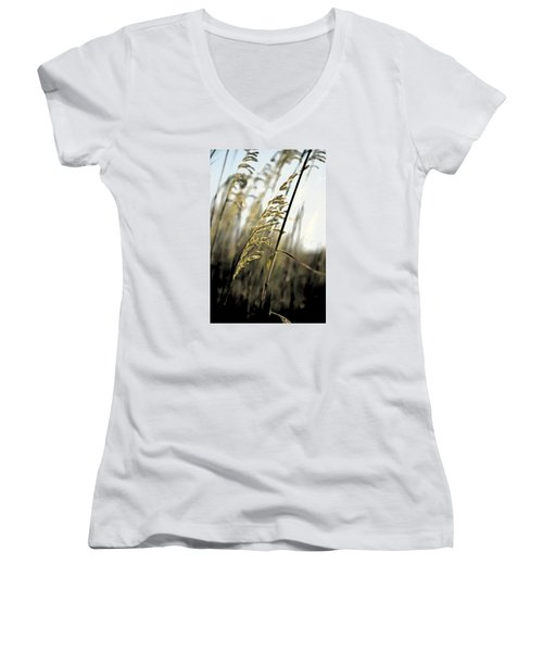 Artistic Grass - Pla377 Women's V-Neck T-Shirt (Junior Cut) by G L Sarti