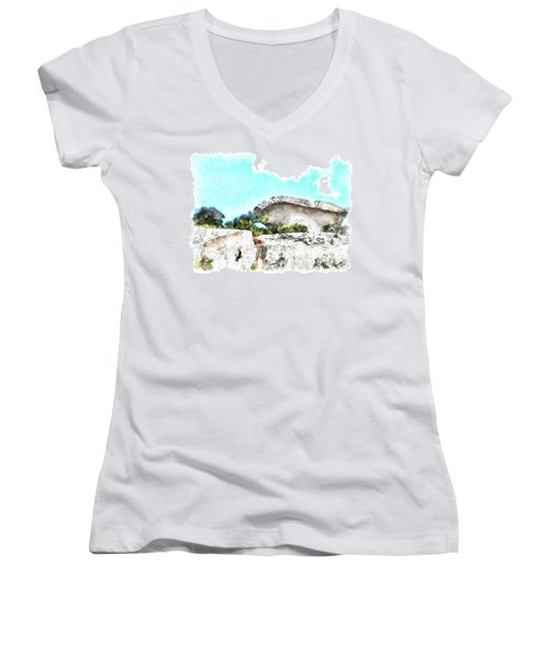 Arzachena Mushroom Rock Women's V-Neck T-Shirt