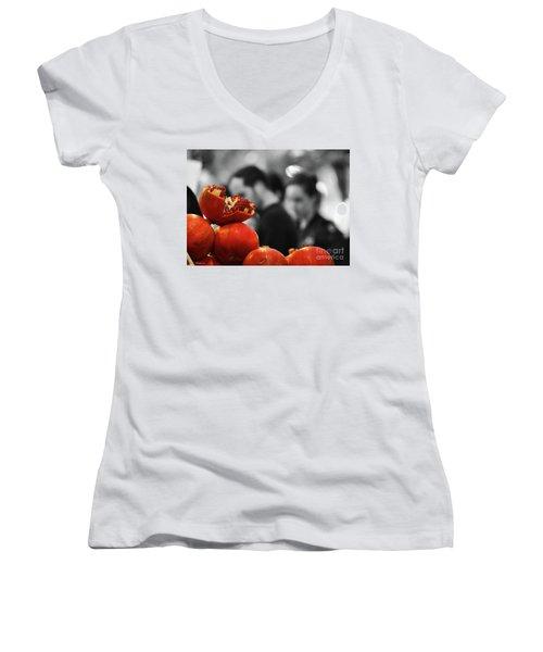 At The Market Women's V-Neck T-Shirt (Junior Cut) by Arik Baltinester