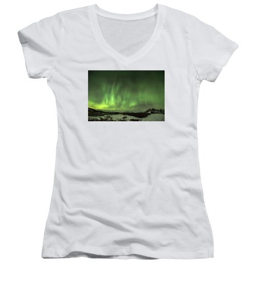 Aurora Borealis Or Northern Lights. Women's V-Neck T-Shirt