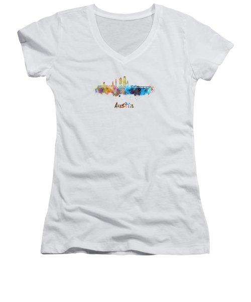 Austin Skyline In Watercolor Women's V-Neck T-Shirt
