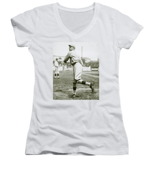 Babe Ruth Pitching Women's V-Neck T-Shirt (Junior Cut) by Jon Neidert