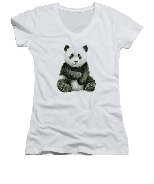Baby Panda Watercolor Women's V-Neck (Athletic Fit)