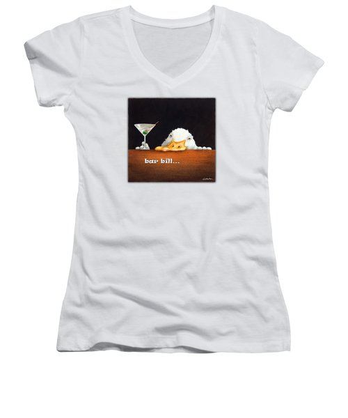 Bar Bill... Women's V-Neck T-Shirt (Junior Cut) by Will Bullas