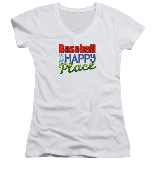 Baseball Is My Happy Place Women's V-Neck T-Shirt (Junior Cut) by Shelley Overton