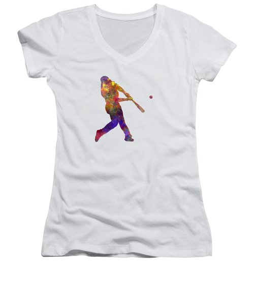 Baseball Player Hitting A Ball Women's V-Neck T-Shirt (Junior Cut) by Pablo Romero