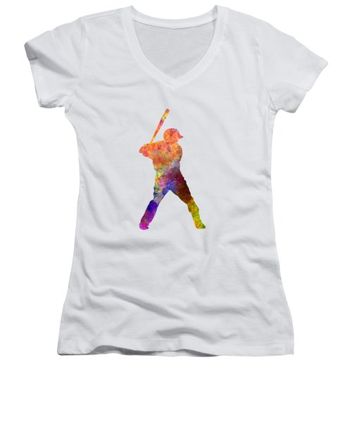 Baseball Player Waiting For A Ball Women's V-Neck T-Shirt (Junior Cut) by Pablo Romero