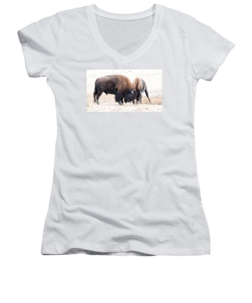 Women's V-Neck T-Shirt (Junior Cut) featuring the photograph Battle Of The Bison In Rut by Yeates Photography