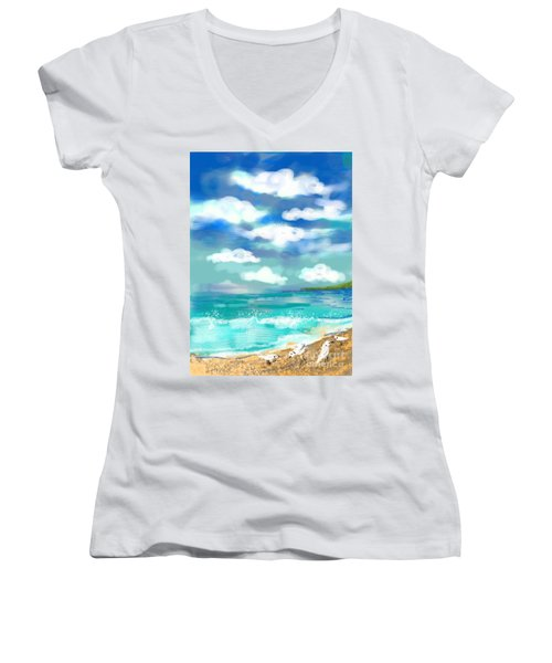 Beach Birds Women's V-Neck T-Shirt