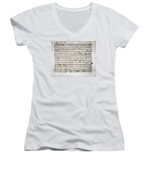Beethoven Manuscript Women's V-Neck