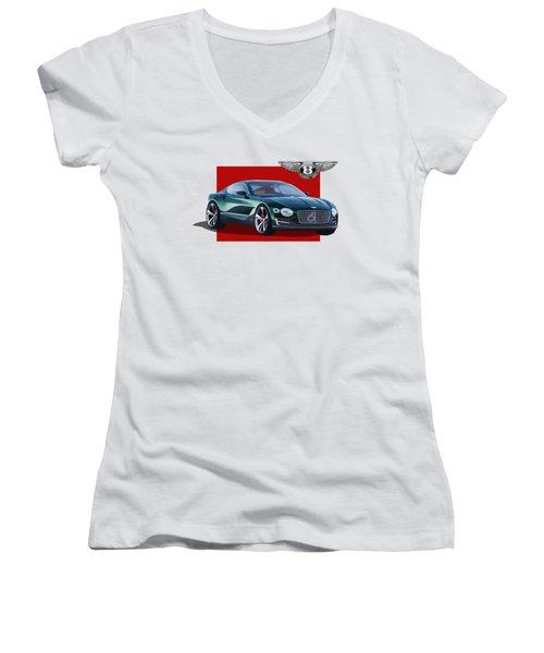 Bentley E X P  10 Speed 6 With  3 D  Badge  Women's V-Neck T-Shirt (Junior Cut) by Serge Averbukh