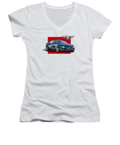 Bentley E X P  10 Speed 6 With  3 D  Badge  Women's V-Neck