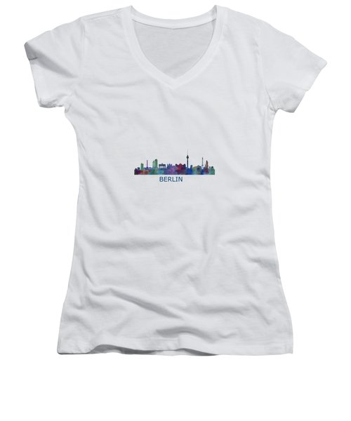 Berlin City Skyline Hq 1 Women's V-Neck T-Shirt (Junior Cut) by HQ Photo