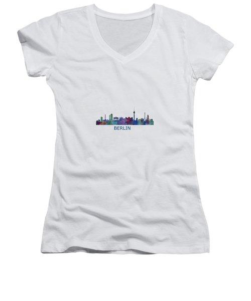 Berlin City Skyline Hq 1 Women's V-Neck T-Shirt