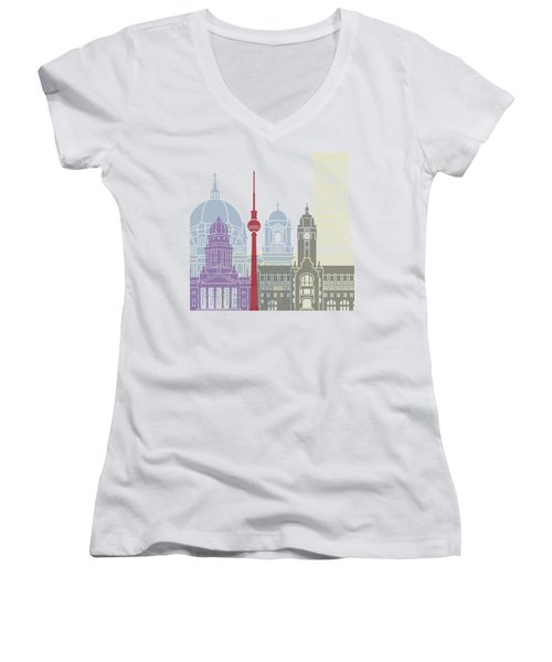 Berlin Skyline Poster Women's V-Neck T-Shirt (Junior Cut) by Pablo Romero