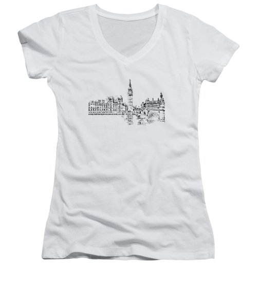 Big Ben Women's V-Neck T-Shirt (Junior Cut) by ISAW Gallery