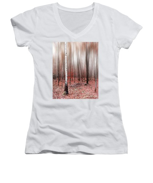 Women's V-Neck T-Shirt (Junior Cut) featuring the photograph Birchforest In Fall by Hannes Cmarits