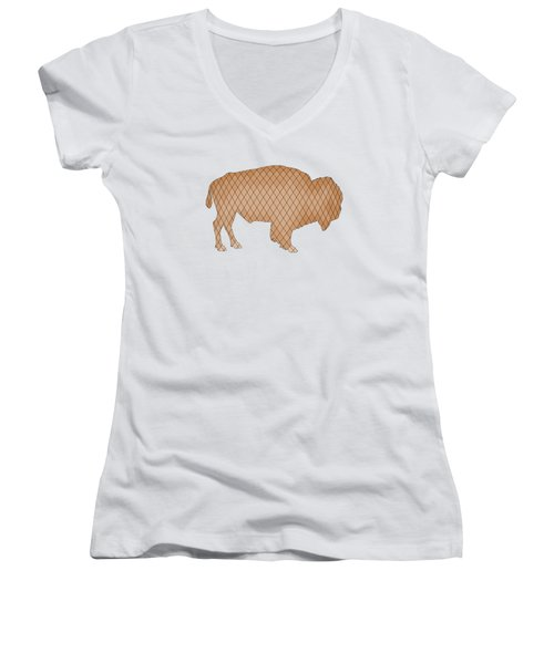 Bison Women's V-Neck T-Shirt (Junior Cut) by Mordax Furittus