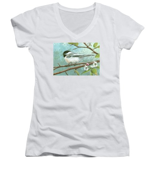 Black Cap Chickadee Women's V-Neck T-Shirt (Junior Cut) by Mike Brown