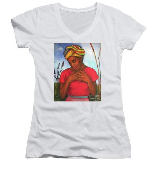Blessed Women's V-Neck T-Shirt (Junior Cut) by Alga Washington