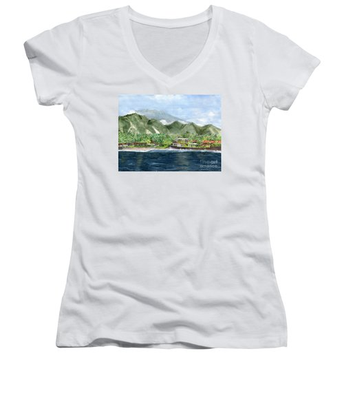 Women's V-Neck T-Shirt (Junior Cut) featuring the painting Blue Lagoon Bali Indonesia by Melly Terpening