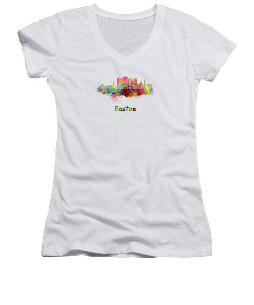 Boston Skyline In Watercolor Women's V-Neck T-Shirt (Junior Cut) by Pablo Romero