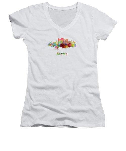 Boston Skyline In Watercolor Women's V-Neck T-Shirt