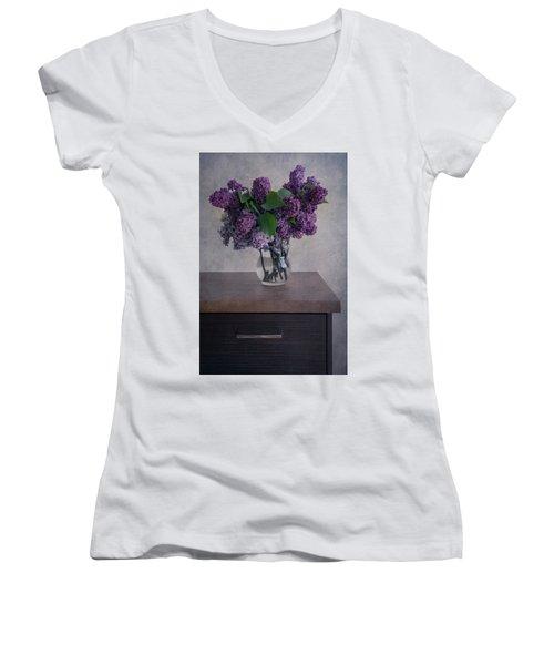 Women's V-Neck T-Shirt (Junior Cut) featuring the photograph Bouquet Of Fresh Lilacs by Jaroslaw Blaminsky