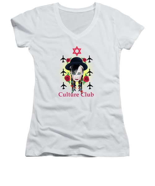 Boy George Women's V-Neck T-Shirt (Junior Cut) by Mark Ashkenazi