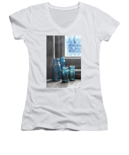 Bromo Seltzer Vintage Glass Bottles Women's V-Neck