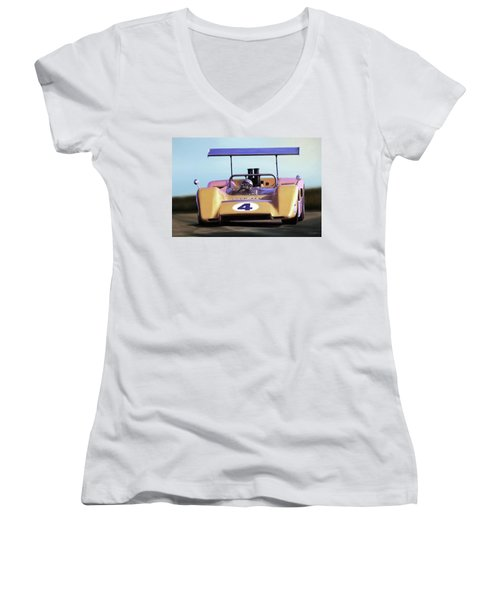 Women's V-Neck T-Shirt (Junior Cut) featuring the digital art Bruce Mclaren M8b by Peter Chilelli