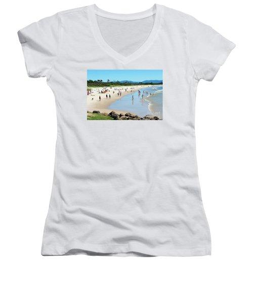 Byron Bay Main Beach Women's V-Neck T-Shirt