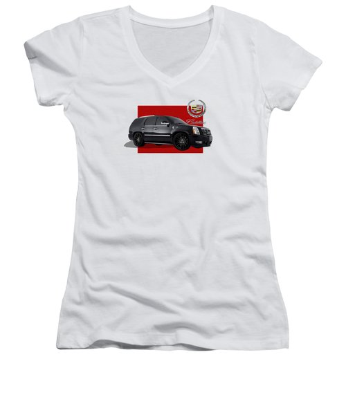 Cadillac Escalade With 3 D Badge  Women's V-Neck T-Shirt (Junior Cut) by Serge Averbukh