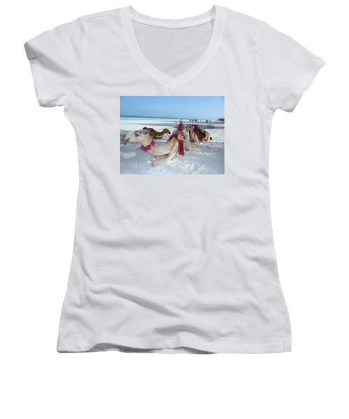 Camel On Beach Kenya Wedding4 Women's V-Neck (Athletic Fit)