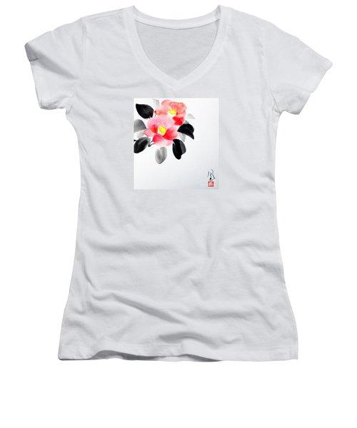 Camellia / Tsubaki Women's V-Neck (Athletic Fit)