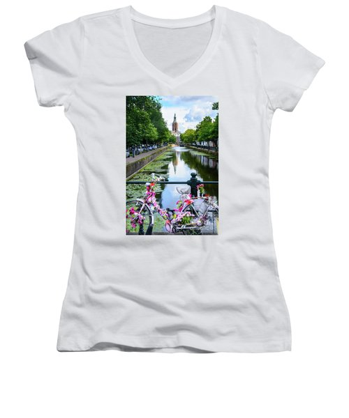 Women's V-Neck T-Shirt (Junior Cut) featuring the digital art Canal And Decorated Bike In The Hague by RicardMN Photography