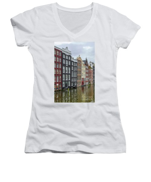 Canal Houses In Amsterdam Women's V-Neck T-Shirt (Junior Cut) by Patricia Hofmeester