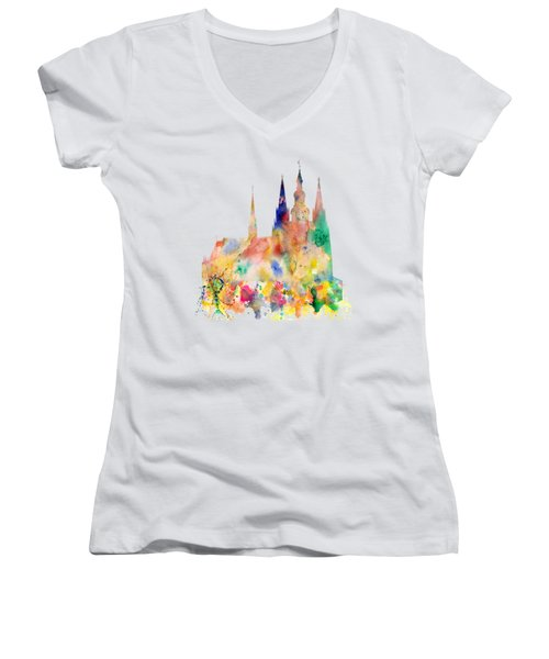 Cathedral Of Saint Vitus In The Prague Castle Watercolor Art Women's V-Neck (Athletic Fit)