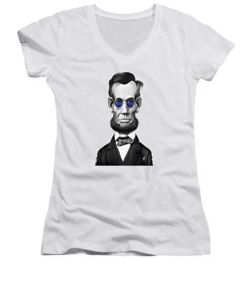 Celebrity Sunday - Abraham Lincoln Women's V-Neck T-Shirt (Junior Cut) by Rob Snow
