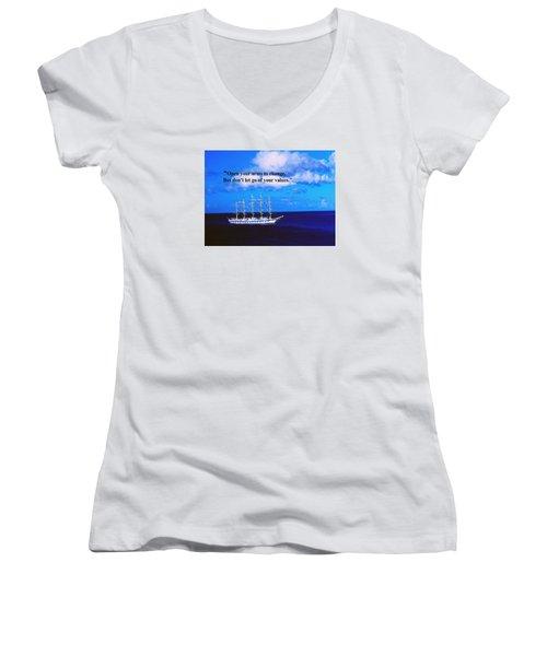 Change Women's V-Neck T-Shirt (Junior Cut) by Gary Wonning