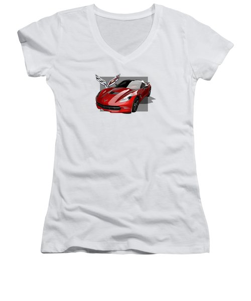 Chevrolet Corvette  C 7  Stingray With 3 D Badge  Women's V-Neck