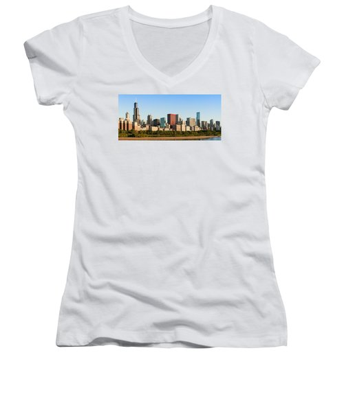 Chicago Downtown At Sunrise Women's V-Neck T-Shirt (Junior Cut) by Semmick Photo