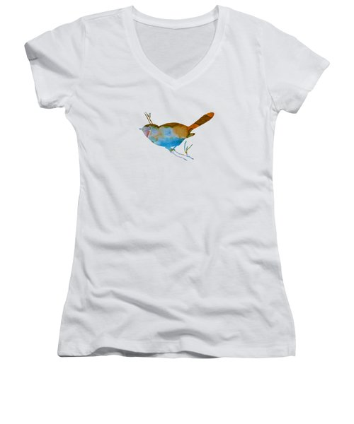 Chickadee Women's V-Neck T-Shirt (Junior Cut) by Mordax Furittus